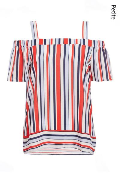 Petite White Red and Blue Stripe Cold Shoulder Top